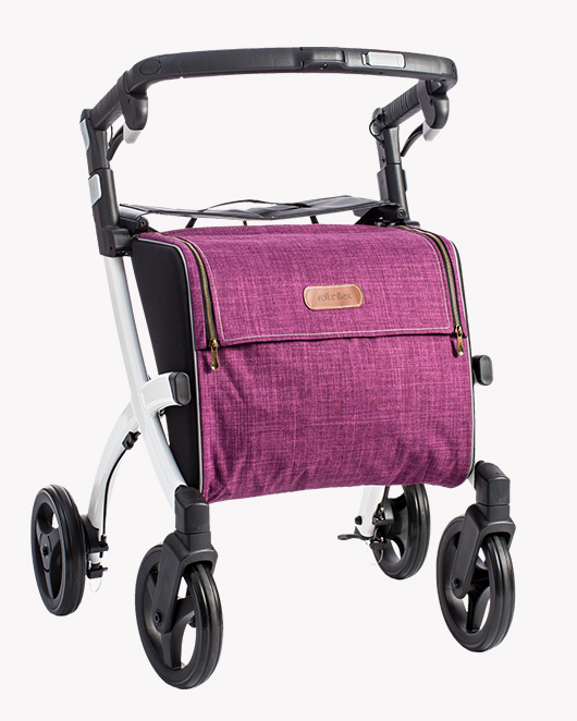 Rollz Flex rollator with white frame and purple bag
