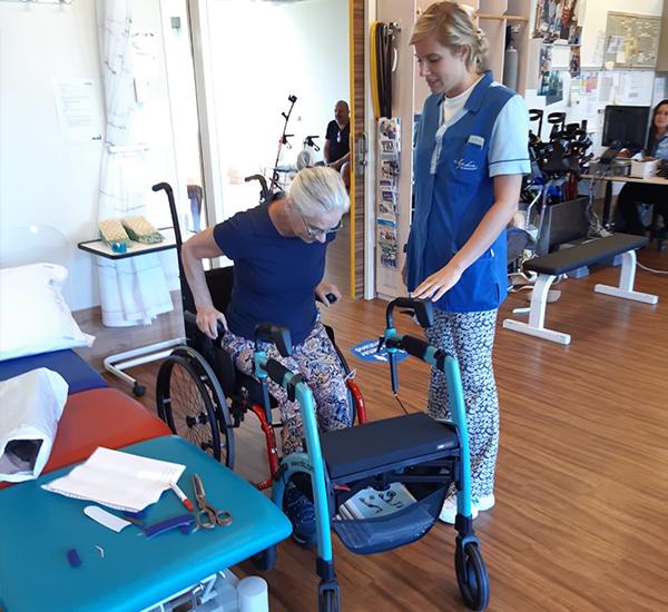 Modern rollators used by seniors in rehabilitation programs