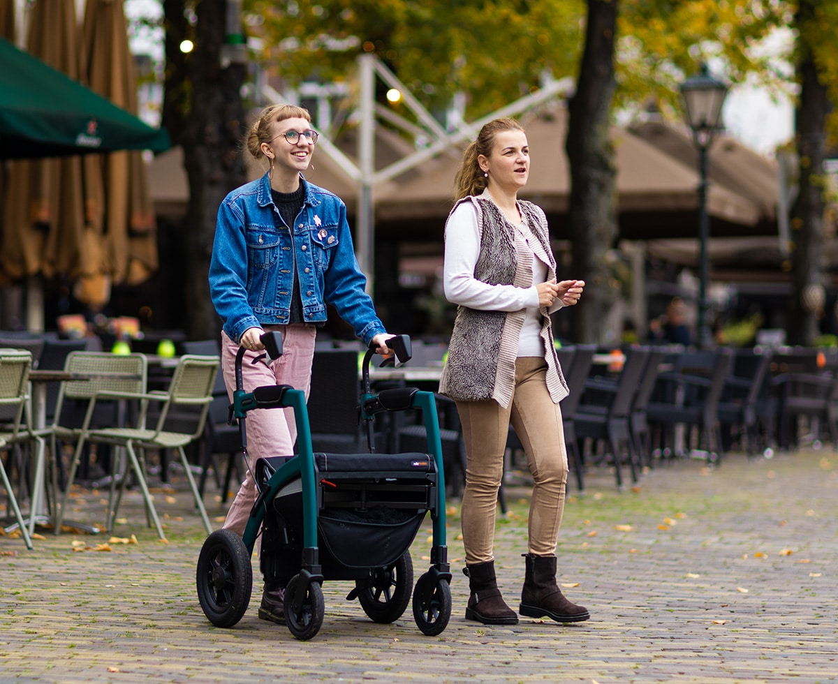 Rollz Motion Performance rollator with air tyres used on cobblestones
