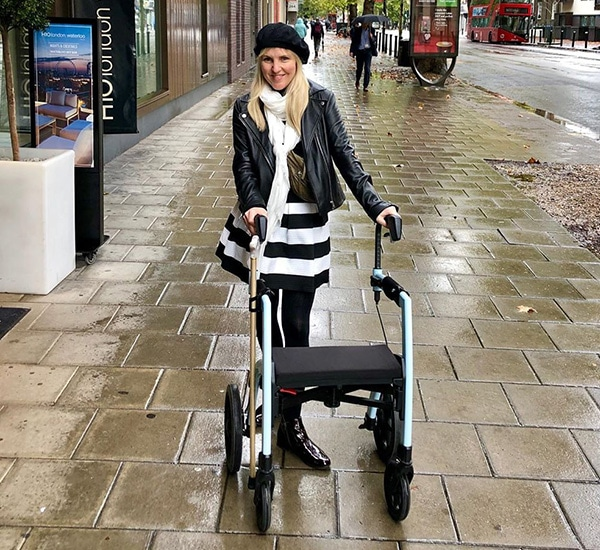 Woman living with Multiple Sclerosis reviews the Rollz Motion rollator