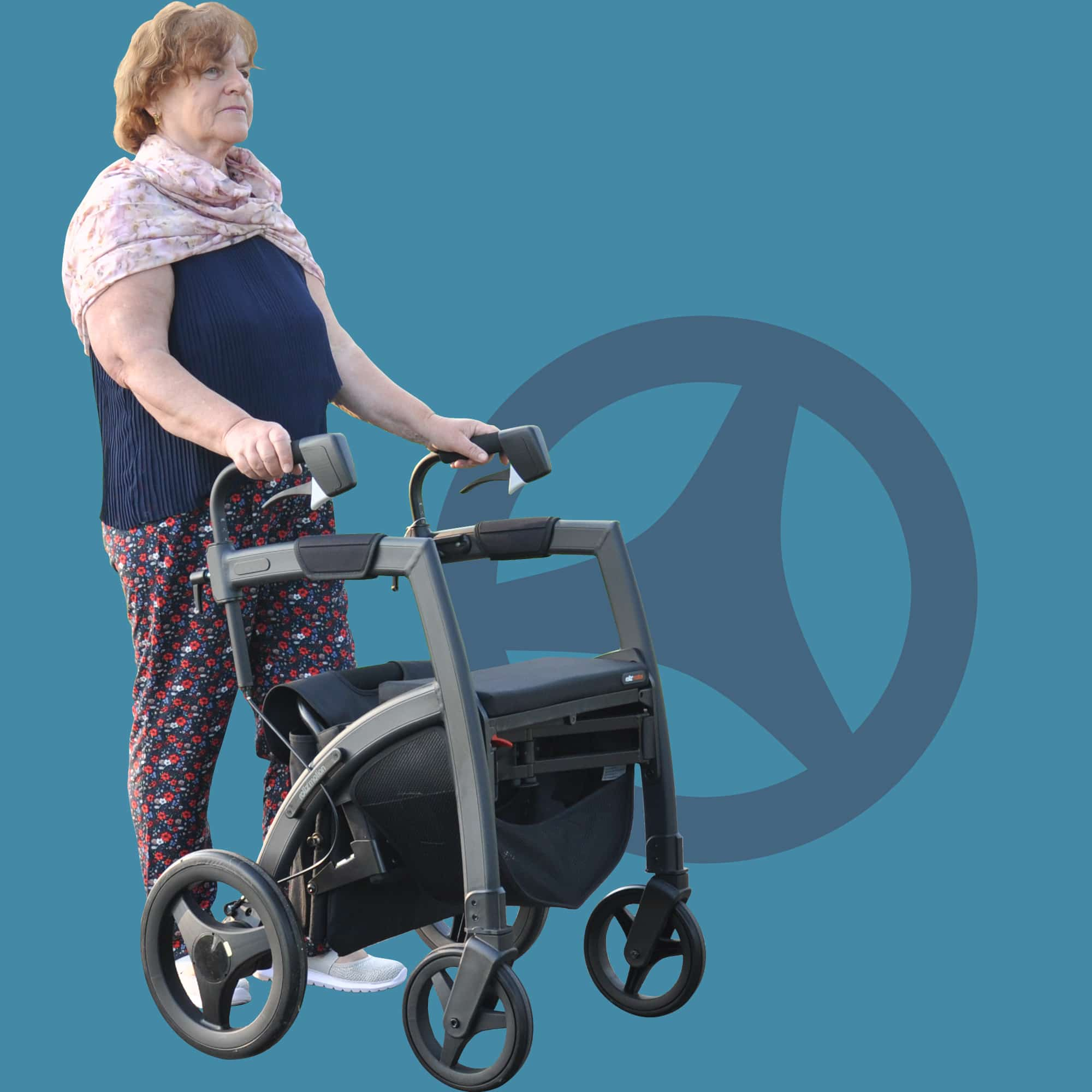 Woman walking stable with a Parkinson rollator with cues