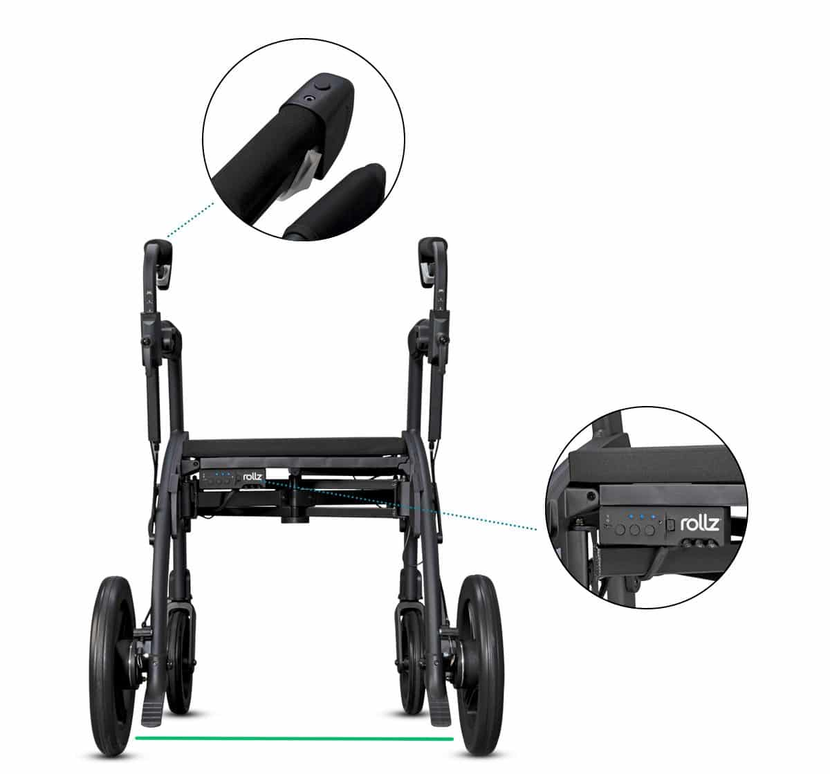 Handles and module of the Parkinson rollator