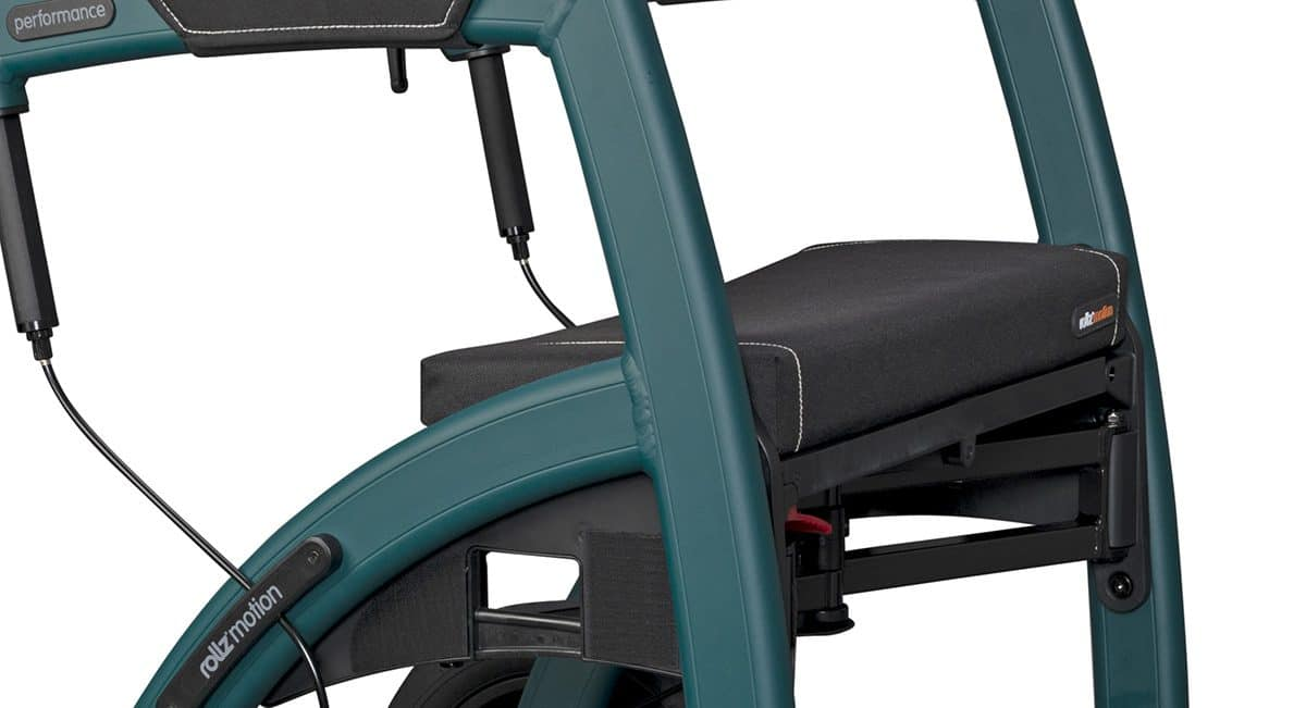 Seat cushion of the Rollz Motion Performance rollator with air tyres