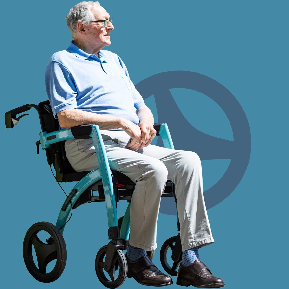 Senior sitting in a Rollz Motion rollator transformed into a wheelchair
